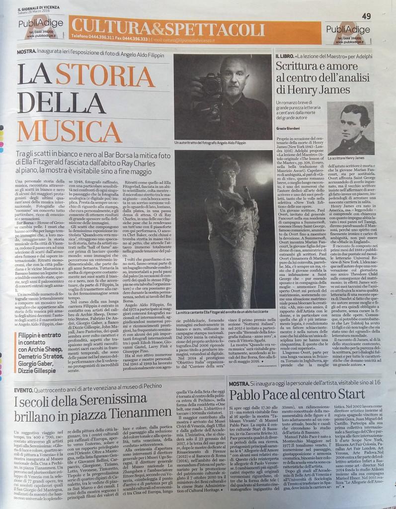 Cultura e spettacoli Giornale di Vicenza Pablo Pace
