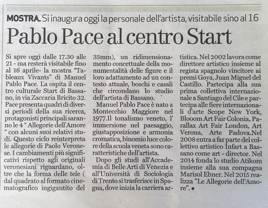 Il Giornale di Vicenza Pablo Pace